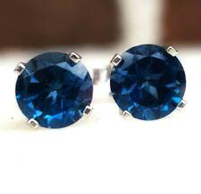 4cb25708f4b8 1.25ct Genuine London Blue Topaz 14K 14KT Sollid White Gold Stud Earrings
