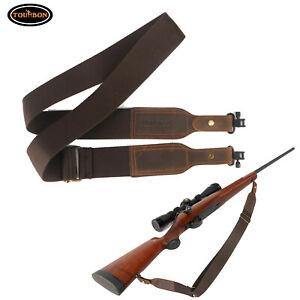 Tourbon Gun Carry Shotgun Strap Rifle Sling 2 Points Leather Buckle+ Swivels Set