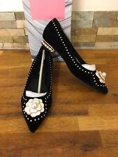Jeffery Campbell Black Velvet Embellished Flat Shoes Size UK 7/EU 40M