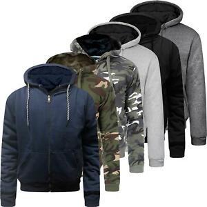 Ex-Brand Mens Fur Lined Winter Hoodie Jacket Thick Sherpa Fleece Hooded Zip Top