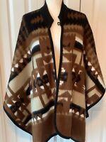 Baby Alpaca Wool Poncho Wrap Blanket Weight Cape Brown Boho Ethnic Tribal