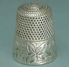 Antique Sterling Silver Leaves & Scrolls Thimble by Stern Bros. * Circa 1890s