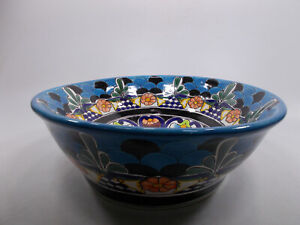 "17"" ROUND TALAVERA SINK ceramic bathroom vessel sink, mexican handmade folk art"