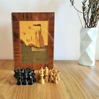 Intarsia russian chess set Soviet wooden vintage chess  USSR antique