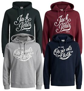 JACK & JONES Originals Mens Blogger Overhead Hoodie Print Hooded Sweatshirt Top