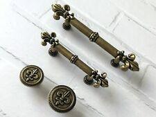 64 96 mm Fleur De Lis Schubladen Knauf Schrank Griffe Möbel Griff Antike Bronze