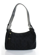 Gucci Black Canvas Gold Tone Monogram Leather Trim Shoulder Handbag