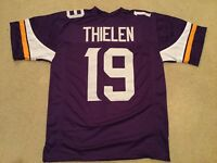 UNSIGNED CUSTOM Sewn Stitched Adam Thielen Purple Jersey - M, L, XL, 2XL