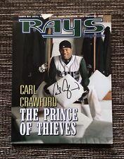 RARE SIGNED 2004 Carl Crawford: Tampa Bay Devil Rays Baseball Magazine