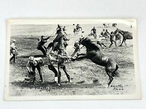 RPPC Calgary Stampede Wild Horse Race Rosettis Studio Horses Cowboys Rodeo Event