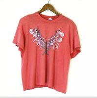 Vintage 70s 80s Decosport Single Stitch Seashell Graphic Studded Top T-Shirt XL