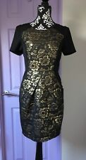 black and gold brocade shift dress size small / 8 / 10 special occasion dress
