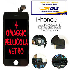 LCD COMPLETO PER APPLE IPHONE 5 NERO CON DISPLAY RETINA ORIGINALE FRAME TOUCH