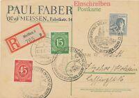 ALLIIERTE BESETZUNG-SBZ 1947 int. portogerechte MiF I. u. II. Kontrollrat MEIßEN