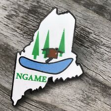NGAME NATIONAL GUARD  MAINE STATE LAPEL/HAT PIN   Cabin Canoe Lake House Trees