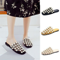 New Ladies Pearls Slide Hollow-Out Flat Slippers Women Comfy Beach Shoes Sandals