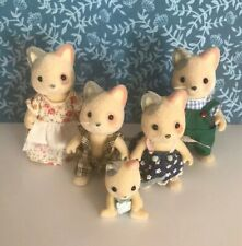 Vintage Sylvanian Families Whiskers Cat Family Figures with Baby HTF !! Rare