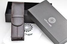 Wancher pouch/estuche for 2 PENS (montblanc 149....), calfskin, Brown, box, Japón