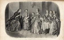 """14/GRAVURE DE MODE """" MAGASIN des DEMOISELLES """" 1858/1859"""