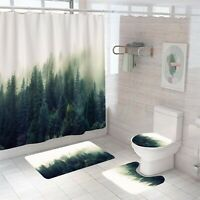 Forest Bathroom Rug Set Shower Curtain Thick Non-Slip Toilet Lid Cover Bath Mat