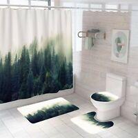 Forest Bathroom Rug Set Shower Curtain Thick Non Slip Toilet Lid Cover Bath Mat
