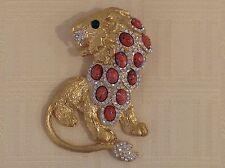 KJL Kenneth Jay Lane HUGE STUNNING LION BROOCH Bejeweled Goldtone