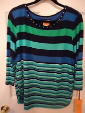 RubyRd turq&blue stripe knit top with neck details, shirred sides, l