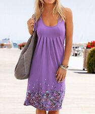 Boho Women Sleeveless Floral Summer Beach Dress Holiday Sundress Long Dress CA