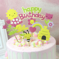 flower bee happy birthday cupcake toppers diy cakes topper party decorsuppliesDD