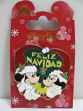 Disney Parks Holiday Pin Santa Mickey Minnie Feliz Navidad Christmas NEW on Card