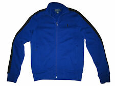Polo Ralph Lauren Royal Blue Black Stripe Fleece Gym Track Jacket Coat Small S