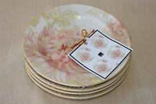 """222 FIFTH """"ZIA"""" FLORAL BLOOM ROUND APPETIZER PLATES - IVORY/PINK/GOLD/GREEN-S/4"""