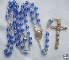 "Vintage Catholic Rosary round Glass Sapphire Blue 4.5mm/6mm beads 18"" length"