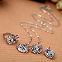 Conjunto set  pendientes collar y anillo del gatito Hello Kitty con cristales