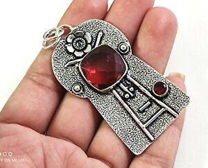 Red Garnet Tourmaline Gemstone Handmade Fashion Jewelry Silver Pendant P-1193