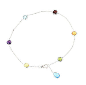 14K White Gold Gemstone Anklet With A Blue Topaz Drop 10.5 Inches