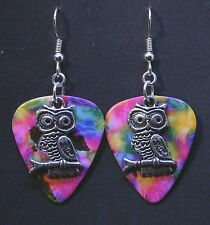 Guitar Pick Earrings With Owl Charm On Tie Dye Psychedelic Colors
