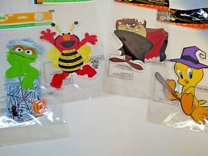 Halloween Oscar & Elmo OR WB Taz & Tweety Window Clings Set of 2* 1 of each  New