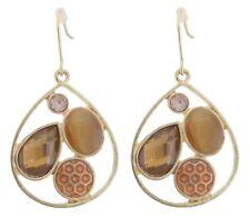 Zest Pear Drop Earrings with 4 Effects for Pierced Ears Amber & Gold