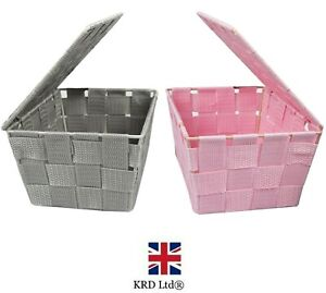 Fabric Woven Storage Basket With Lid Hamper Box Home Decor Kitchen Room Tidy UK