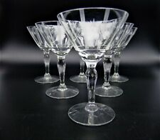 Vintage Cocktail Glasses Cordials Etched Atomic Stars Mid Century Set of 6