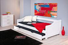 Sofabett Leonie, Kinderbett, Jugendbett, Tandemliege, 90x200 cm, Weiß lackiert