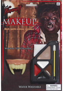 Werewolf Wolfman Wolf Monster Halloween Men Costume Makeup & Teeth