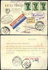 AUSTRIA 1956 HOTEL TAUBE BIRD CARD SWISS AIR + RAIL TPO to US ARMY APO..RETURNED