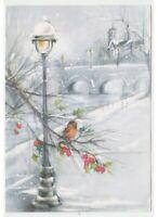 Paisaje Navideño Tarjeta Postal Vintage Nieve Robin Acebo Farola Puente