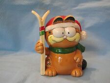 VINTAGE ENESCO  GARFIELD CAT SKIIER CHRISTMAS BANK  FIGURINE