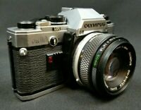 Olympus OM10 35mm SLR REFURBISHED WORKING Vintage Film Camera 1:1.8 50mm 1980s