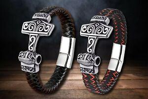 Lederarmband Viking Thors Hammer Herren Edelstahl  silber schwarz Nähte rot