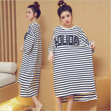 Holiday Stripes Girl Women Nightdresses Sleepshirt Sleepwear Nightshirt M-2XL