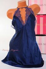VS VICTORIA'S SECRET Lingerie Slip Silky Lace Babydoll Unlined S Small Navy Blue